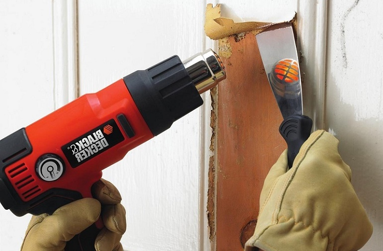 строительный фен для снятия старой краски со шкафа