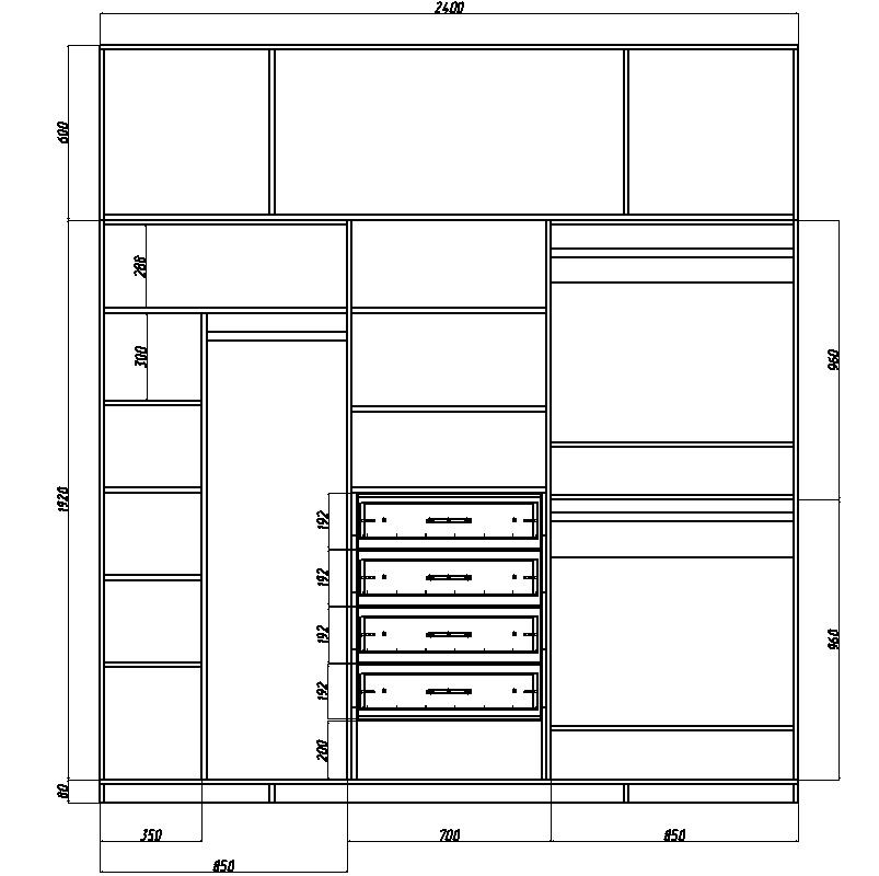 чертеж шкафа-купе с размерами