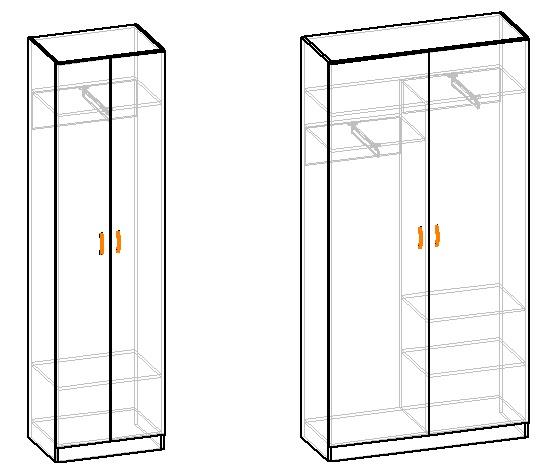 чертеж двухстворчатого гардеробного шкафа