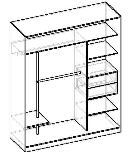 чертеж двухстворчатого шкафа-купе с системой джокер