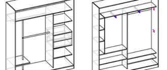 Чертежи и размеры двухстворчатых шкафов