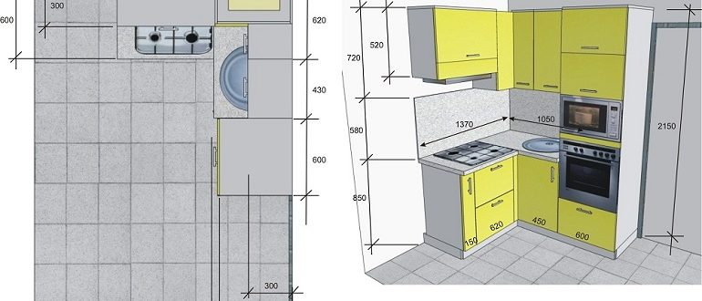 чертежи кухонных шкафов с размерами