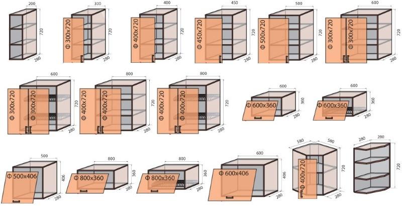 чертежи кухонных навесных шкафов