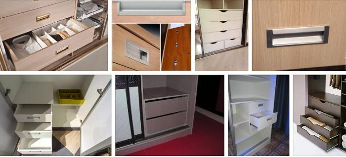 оформление ручек для внутренних ящиков в шкафах