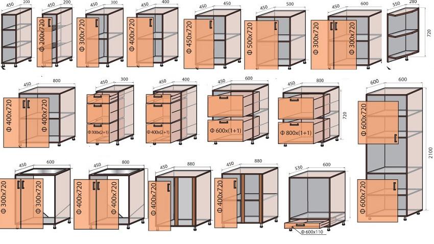 чертежи кухонных шкафов-тумб