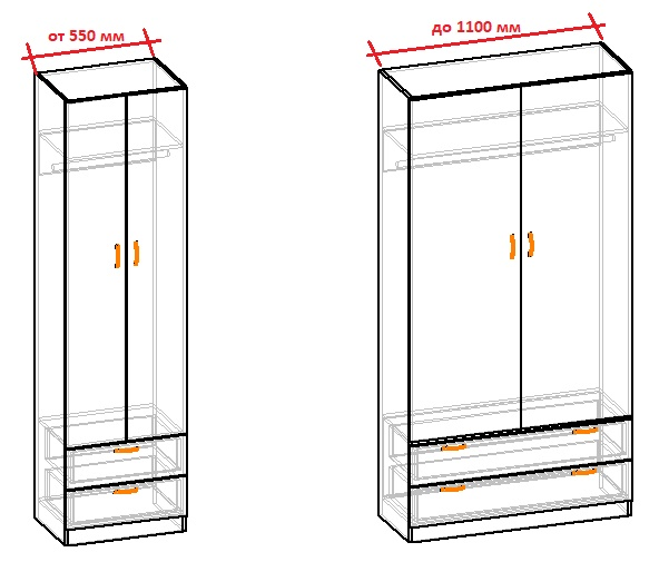 ширина двухдверных шкафов