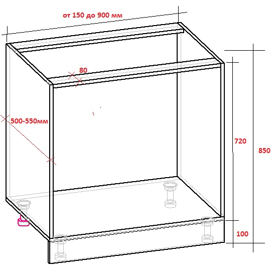 чертеж кухонного шкафа-тумбы, корпус