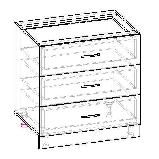 чертеж кухонного шкафа-тумбы с ящиками