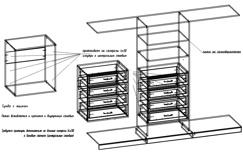 чертеж сборки шкафа, центральная часть