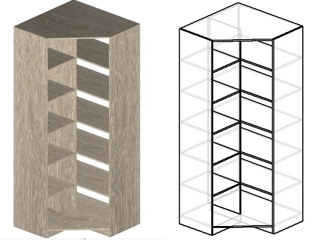 чертеж углового шкафа с полками