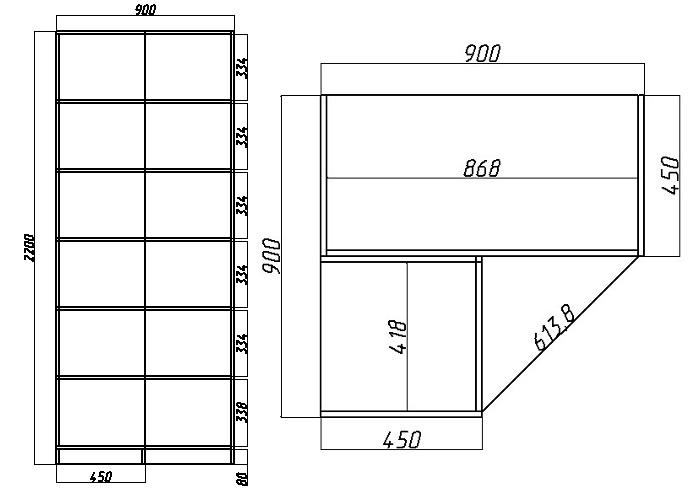 схема углового шкафа с полками