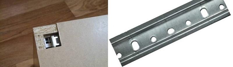 как вешают шкафы на планку при задней стенке внахлест