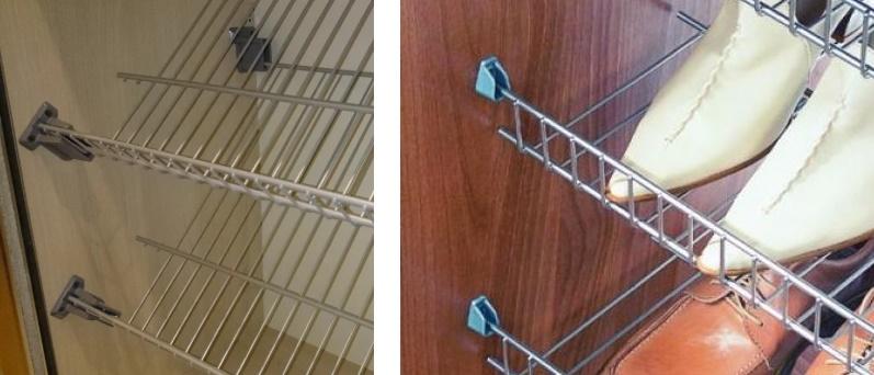 Крепление металлической сетчатой полки в шкаф