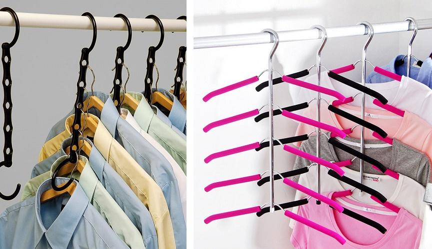 многоярусные вешалки для лучшей организации пространства шкафа