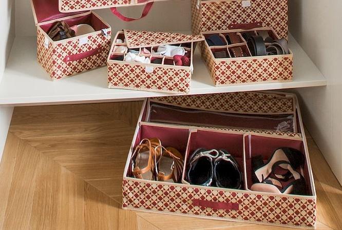 органайзеры и кофры для полок шкафа