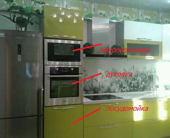 кухонный шкаф пенал со встроенной бытовой техникой