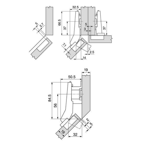 схема как установить угловую петлю на дверцу шкафа