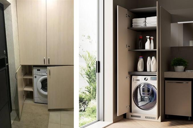шкаф с дверцами для стиральной машины