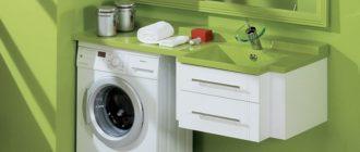Шкаф тумба под стиральную машину в ванную комнату, обзор вариантов с фото