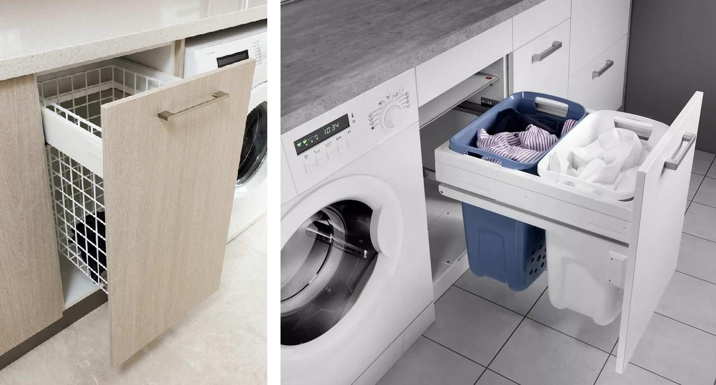 тумба под стиральную машину с выдвижными корзинами