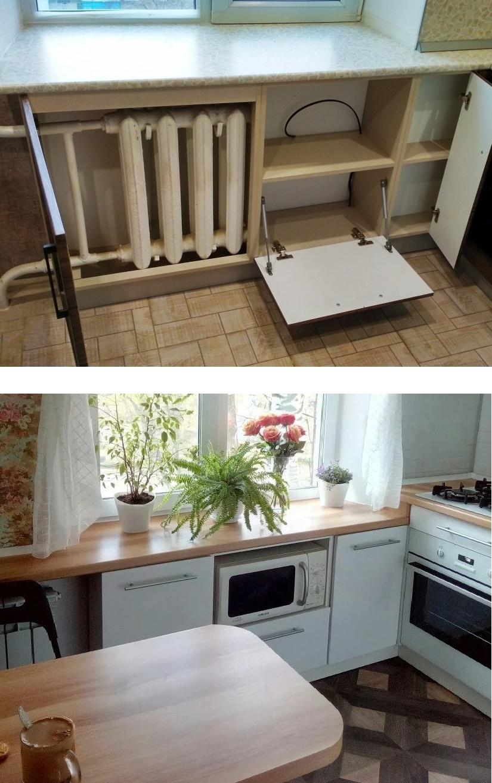 Как сделать шкаф под подоконником на кухне своими руками, фото и чертежи