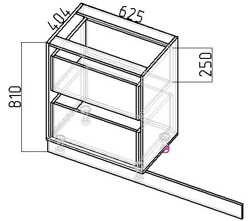 чертеж шкафа под подоконник на кухне