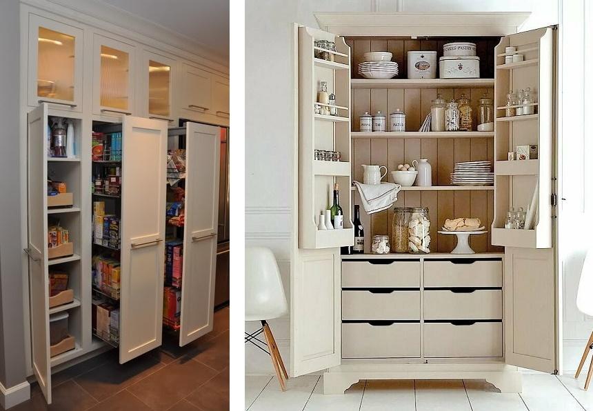 высокий кухонный шкаф для посуды