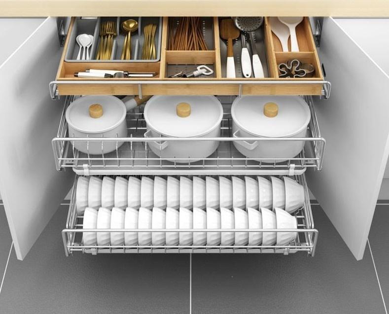 выдвижные корзины для хранения посуды