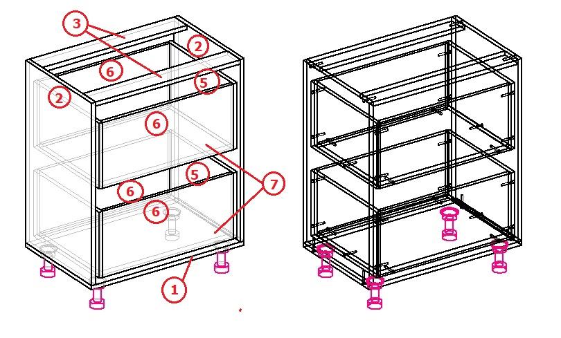 схема сборки шкафа в нишу под подоконник на кухне