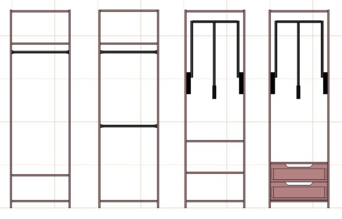 секции наполнения большого шкафа под одежду на плечиках
