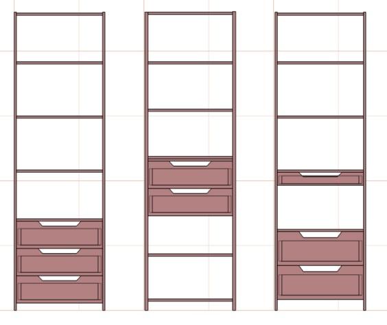 чертежи секций в большой шкаф с выдвижными ящиками