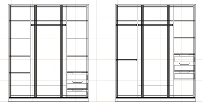 чертеж наполнения большого шкафа купе в спальню