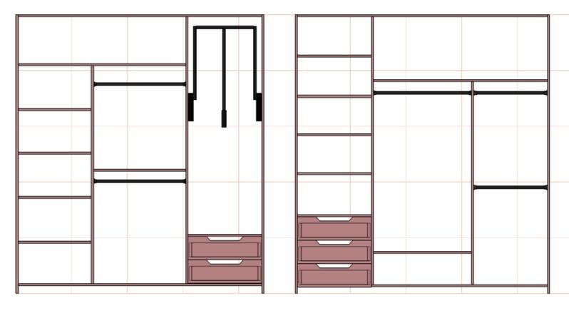чертежи внутреннего наполнения шкафа купе в прихожую