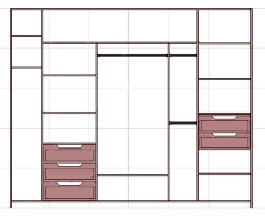 чертеж большого шкафа купе в прихожую