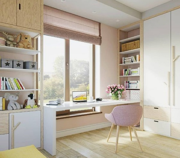 шкаф стол вдоль окна выше уровня подоконника