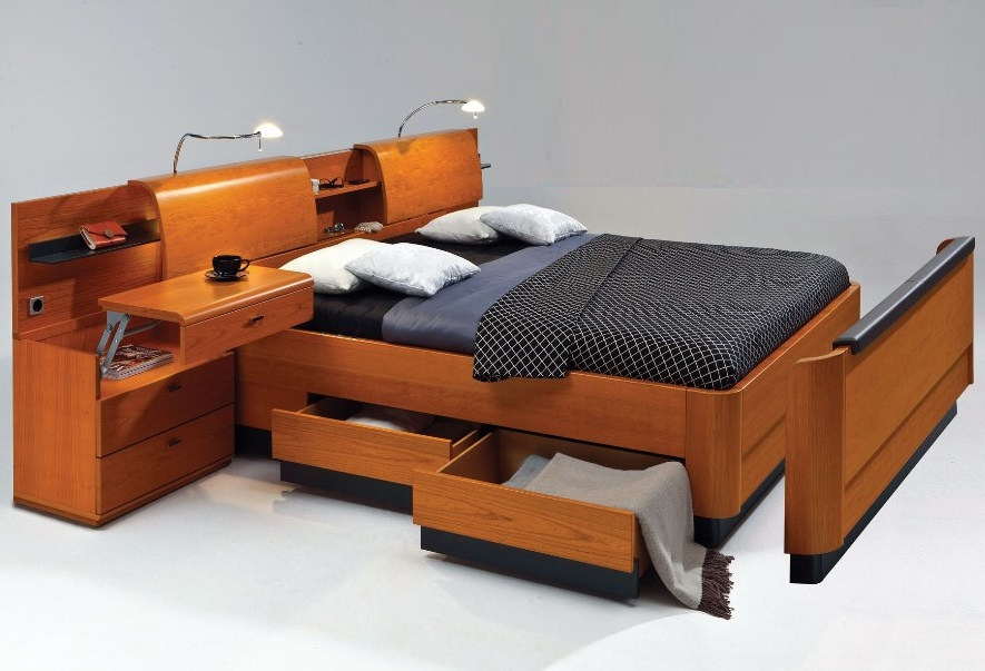 кровать со спинкой трансформер и встроенными шкафчиками