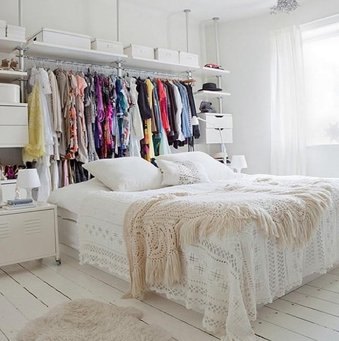 оформление кровати шкафами