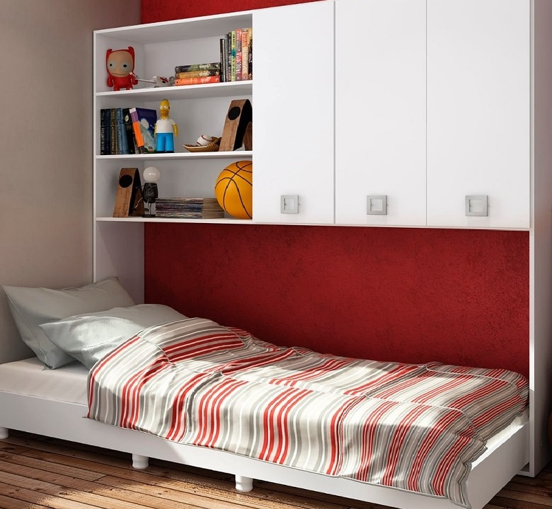 шкафы над кроватью в детской