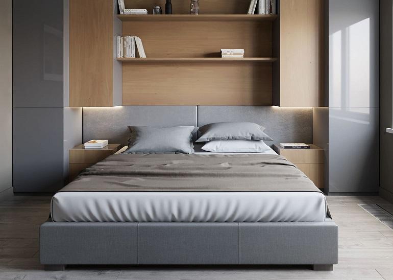шкафы вокруг изголовья кровати