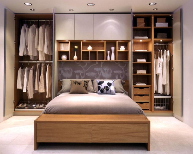 как сделать шкафы над кроватью в спальне