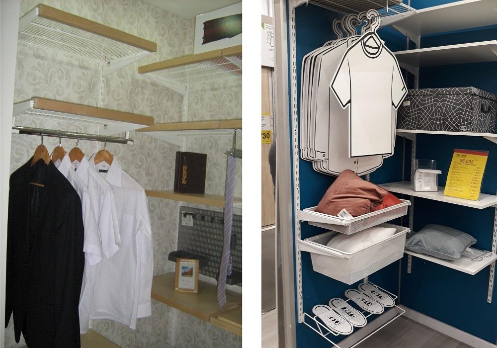 цвет стен внутри гардеробных и шкафов