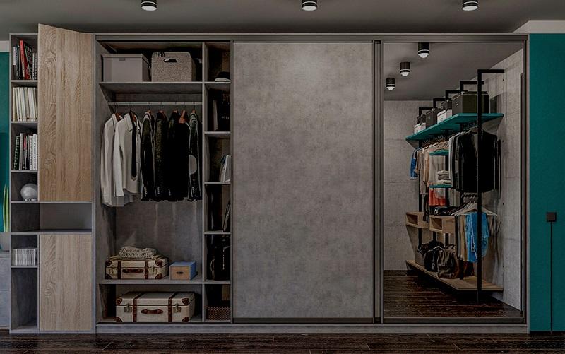 встроенный шкаф серого цвета