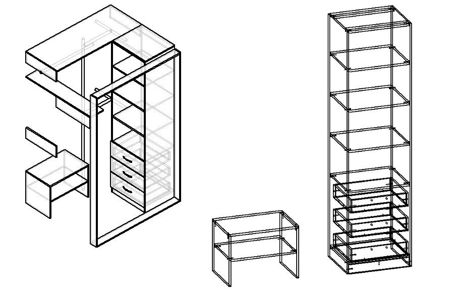 чертеж маленькой гардеробной из кладовки