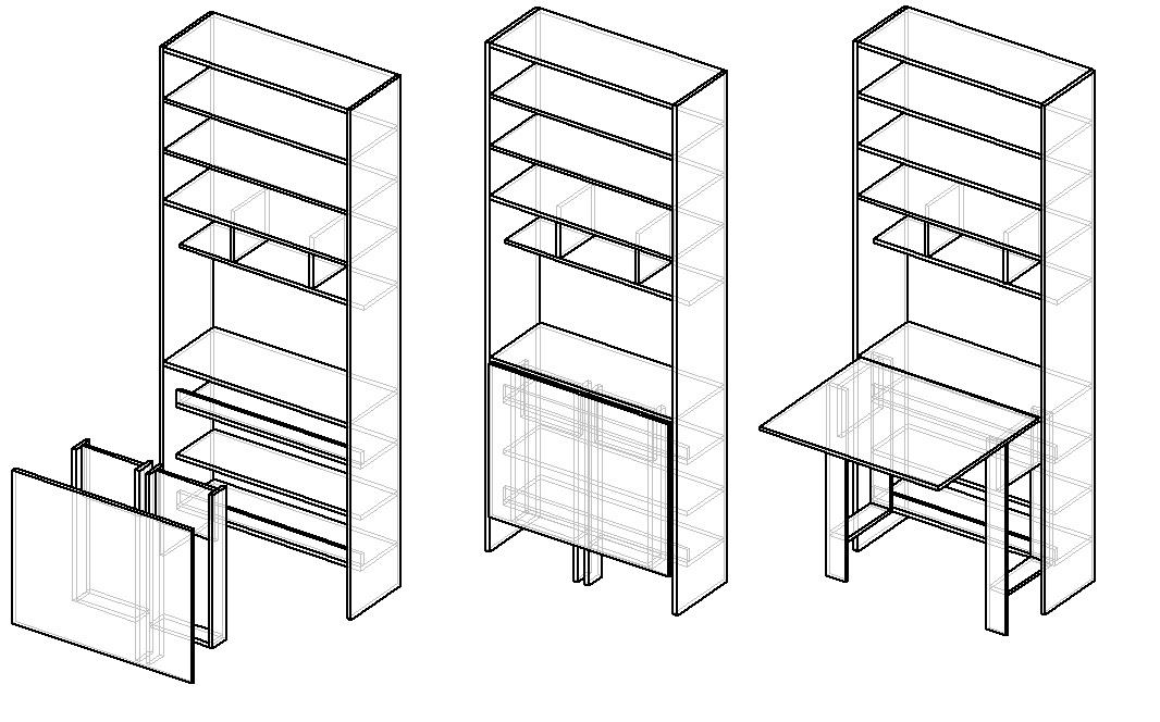 чертеж шкафа для рукоделия с раскладным столом