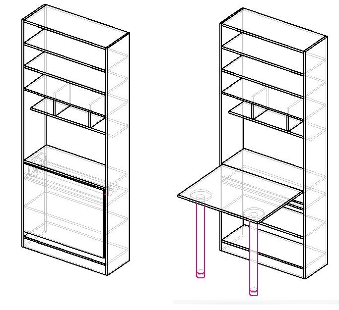 чертеж шкафа для рукоделия и шитья с откидным столом