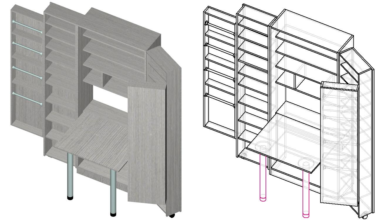 чертеж шкафа трансформера для рукоделия и шитья