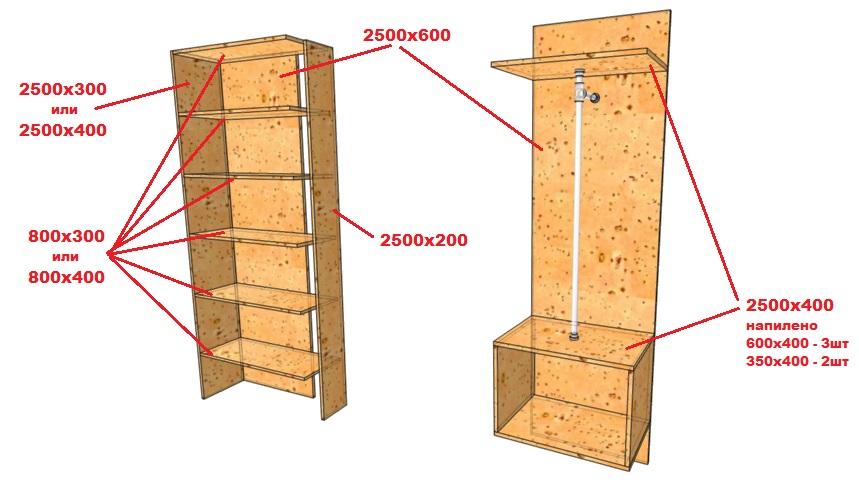 чертеж шкафа из мебельного щита для одежды