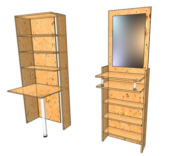 чертеж шкафа из мебельного щита с задней стенкой