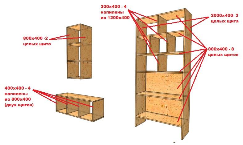 чертеж открытого шкафа из мебельного щита