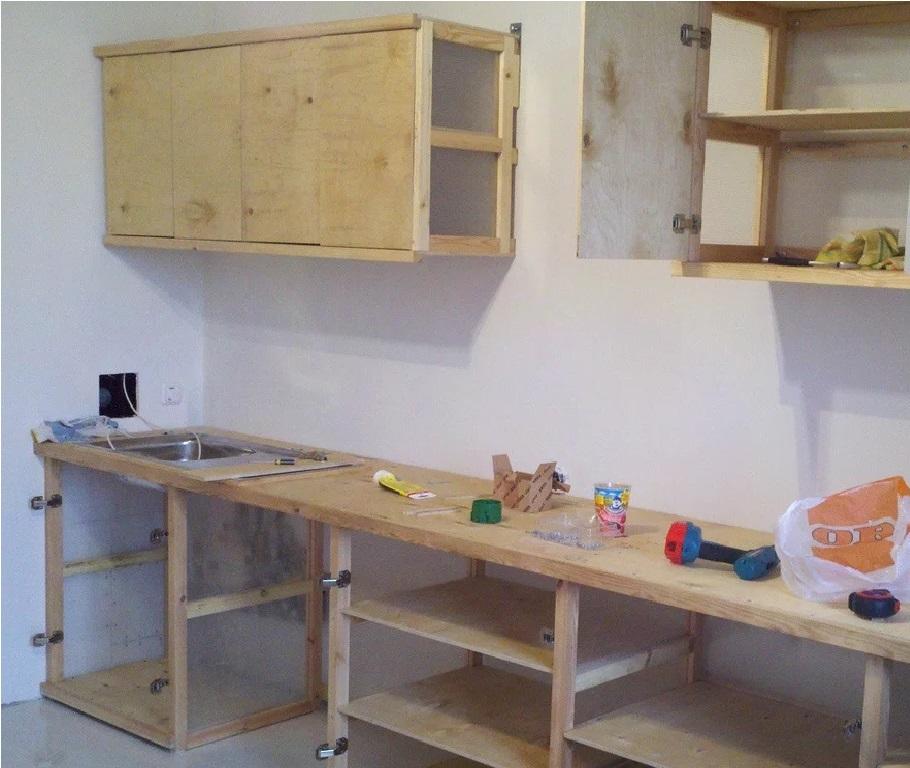 как сделать кухонный гарнитур из мебельного щита
